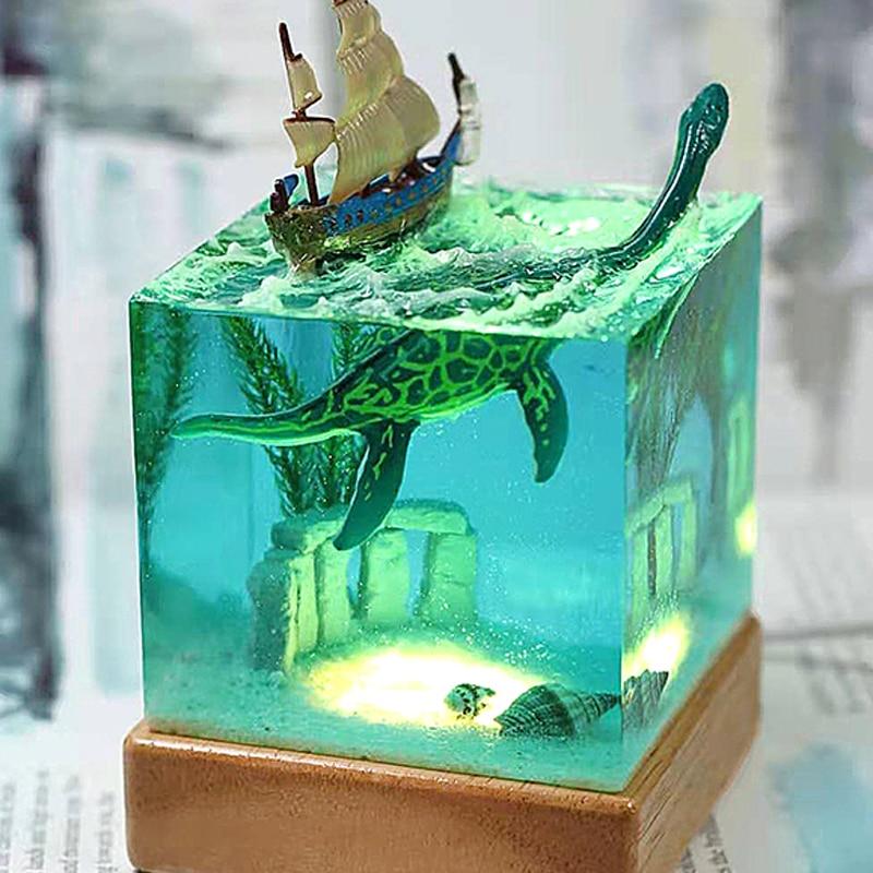 Artesanías resina wechuang productos creativos regalos Marina ornamentsCreative vela dinosaurio cuadrado luz de noche