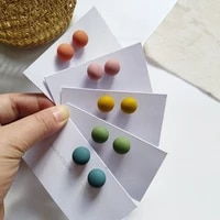 s925 needle modern jewelry ball earrings hot selling coating green yellow pink blue matte stud earrings for girl student gifts