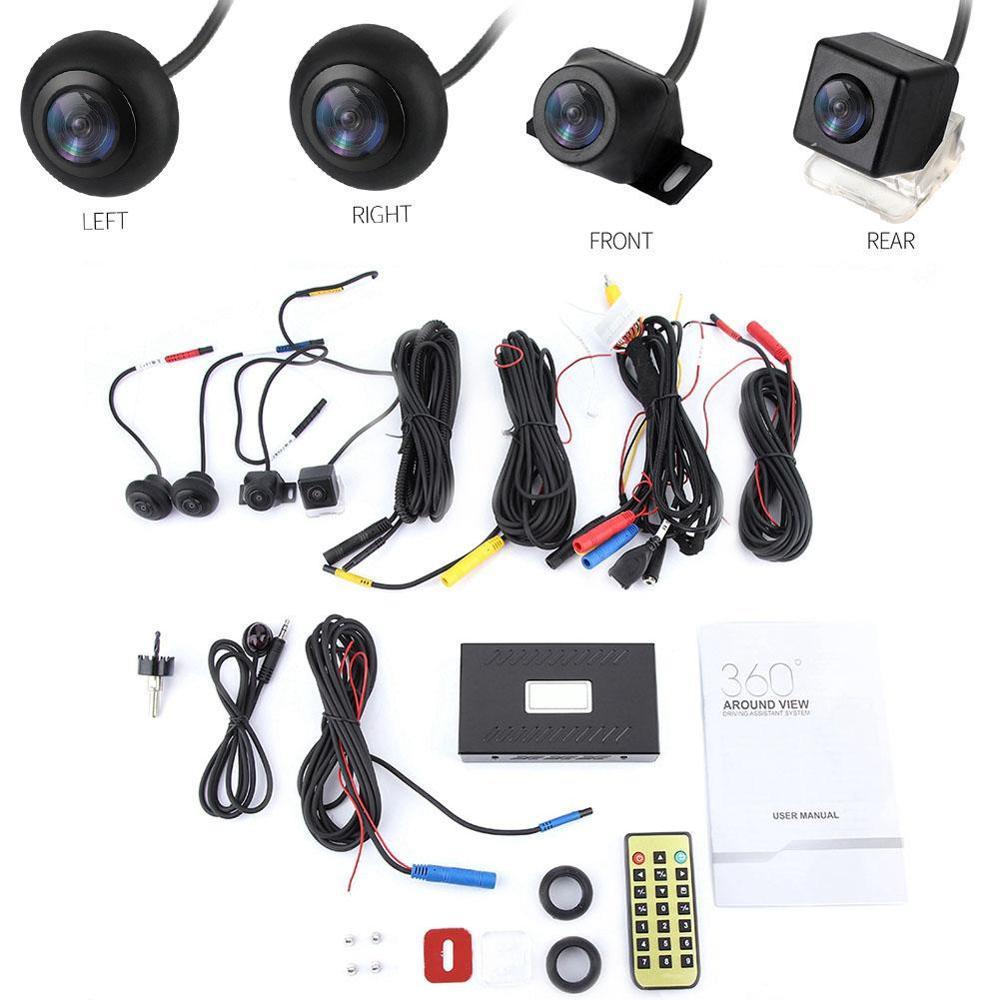 Cámara DVR para coche 720P HD sistema de aparcamiento de 360 grados sistema de cámara de visión envolvente cámara grabadora de conducción cámara para salpicadero de coche grabadora