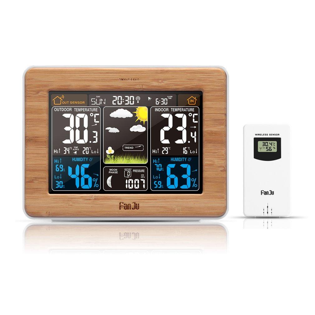 FJ3365 -DCF Farbe Bildschirm Wetter Prognose Uhr Bambus Elektrische Welle Uhr Multi-Funktion Elektronische Rf Wireless Kalender UK