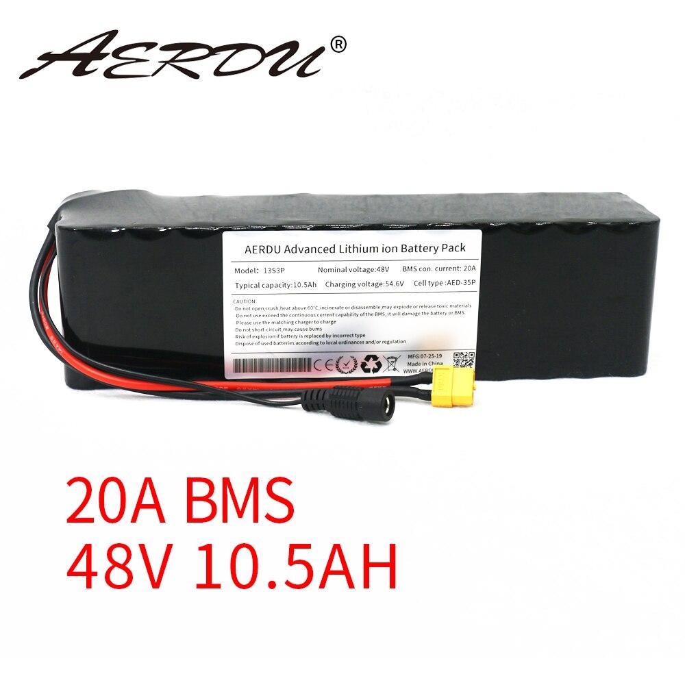 AERDU 48V 10.5Ah 750w 18650 13S3P 10Ah بطارية ليثيوم حزمة دراجة سكوتر كهربائية دراجة الدراجة الهوائية الأحادية العجلة الدراجة 4810 20A BMS XT60 500w