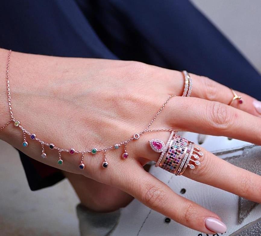 Minimalist Rose Gold Color Finger Link Chain cz Crystal Slave Bracelet for Women Girl Charm Bracelet feminina pulseras