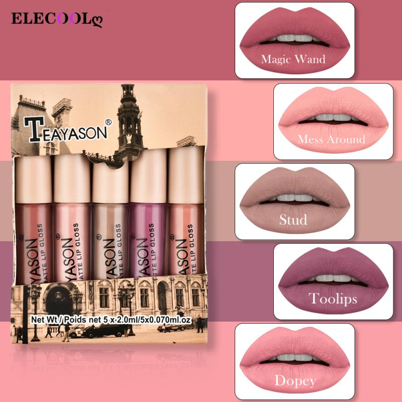 ELECOOL  5Pcs/Set Waterproof Lipstick Matte Velvet Non-stick Cup Non-fadin  Lip Gloose Pumpkin Color Lips Makeup Cosmetics