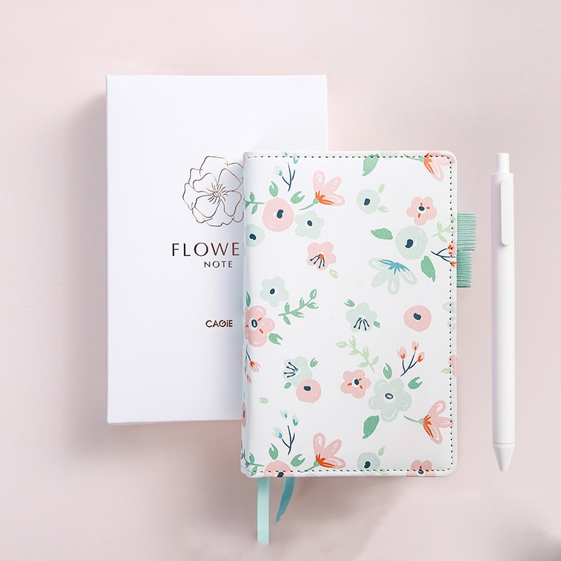 A6 Small Notebook Spiral Journal Monthly Diary Notepad Line Agenda Planner Organizer Flower Daily Note Book Traveler Note Book