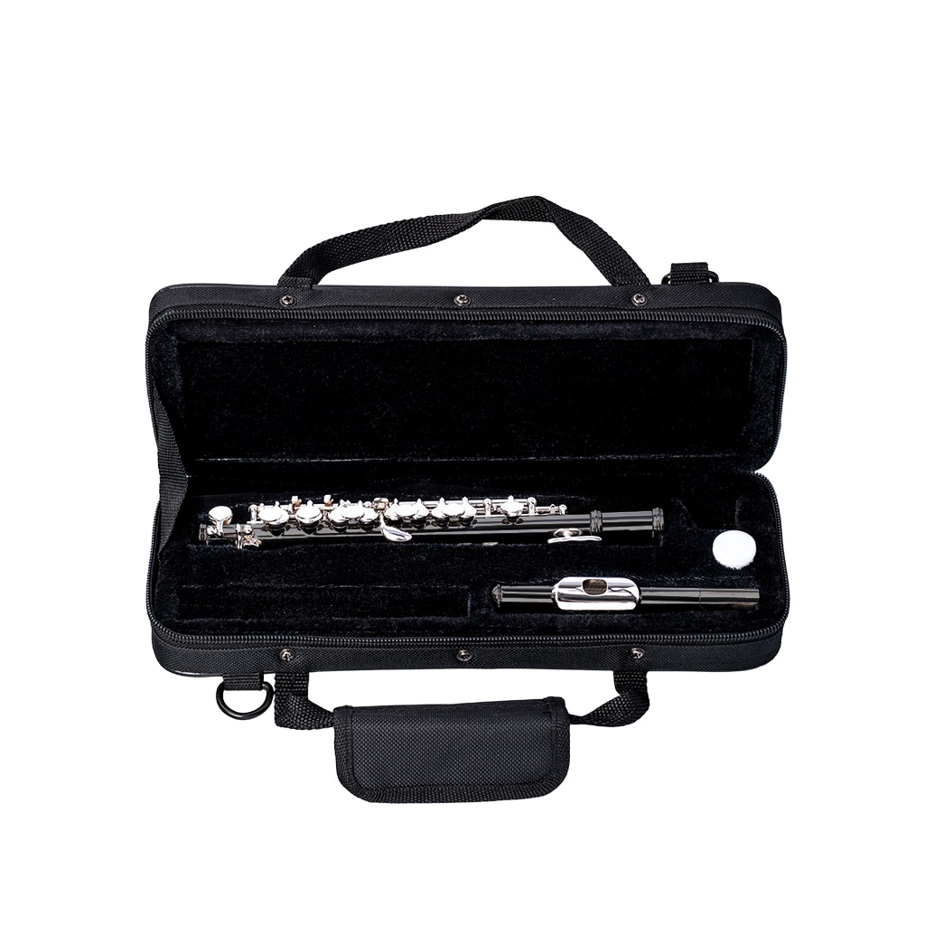 NAOMI Excellent Nickel Plated C Key Piccolo Black Color W/ Case Cleaning Rod And Cloth And Gloves Cupronickel Piccolo Set enlarge