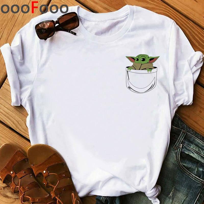 The Mandalorian Harajuku Funny Cartoon T Shirt Women Ullzang Baby Bebe Yoda T-shirt Grunge 90s Tshirt Hip Hop Top Tees Female