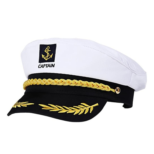 Adult Yacht Boat Ship Sailor Captain Costume Hat Cap Navy Marine Admiral Embroidered Captain'S Cap (White)