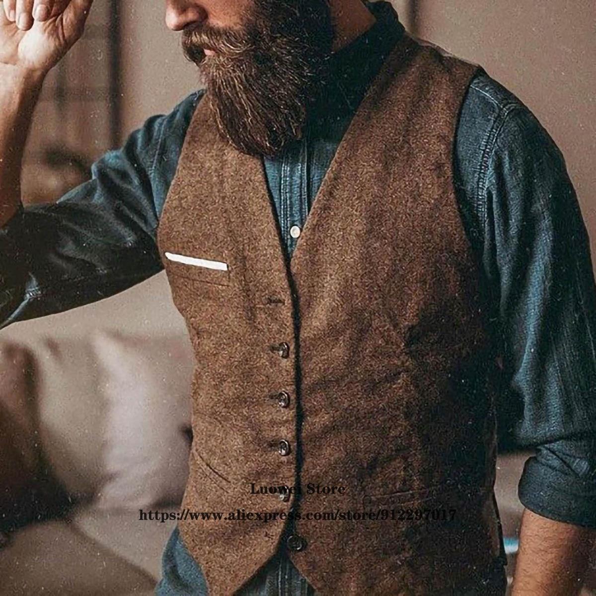 Винтажные мужские костюмы, однотонные Свадебные жилеты в елочку в стиле ретро, мужские деловые облегающие жилеты, мужской жилет для ухода з...