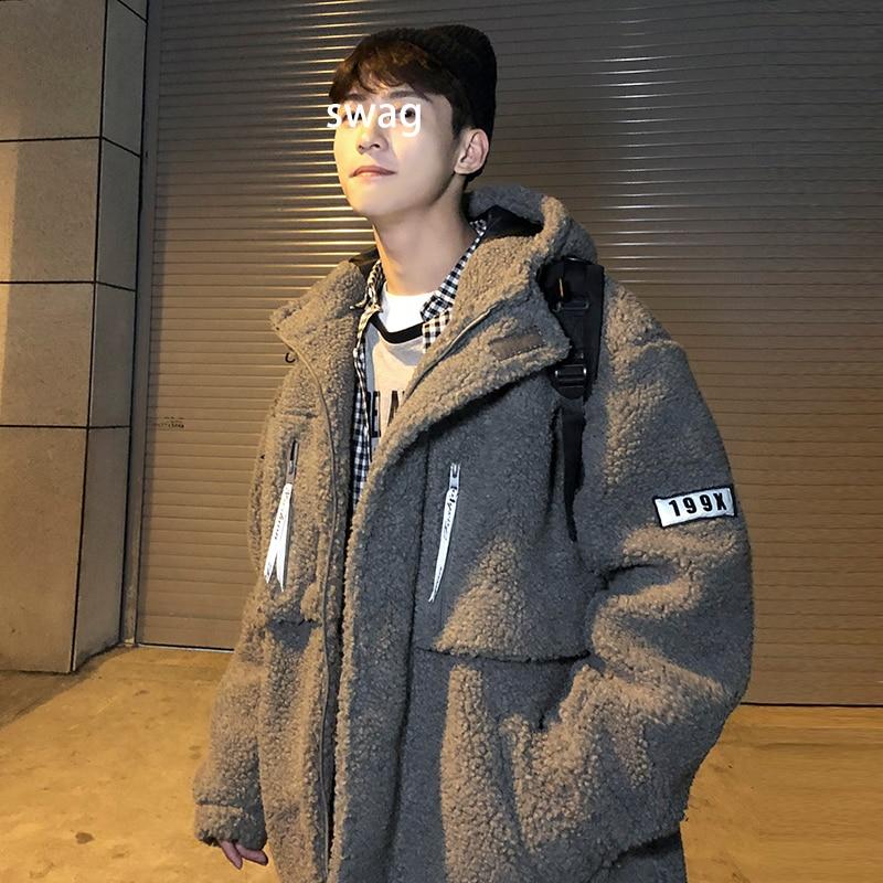 Invierno nueva chaqueta gruesa de piel de cordero de moda caliente Parka para hombre Abrigo con capucha de Color sólido para hombre ropa de calle Chaqueta de algodón suelta