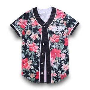 CJLM Baseball Jersey TShirt Red Floral 3D Print Short Sleeve Men T-Shirt Button Shirt Slim Fit Hip Hop Streetwear Clothing