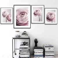 Affiche dart mural avec fleur de pivoine  peinture sur toile rose Blush  decoration nordique  decoration de maison pour salon