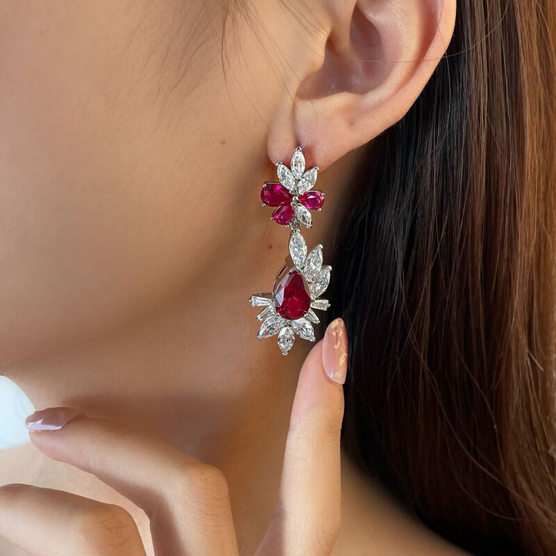 OEVAS 100% 925 Sterling Silver 8*12mm Pear Ruby Sapphire High Carbon Diamond Drop Earrings For Women Sparkling Fine Jewelry Gift