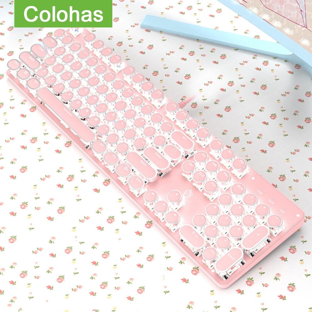 لوحة مفاتيح ألعاب ميكانيكية سلكية USB ، للكمبيوتر ، الكمبيوتر ، ألعاب الكمبيوتر ، الشرير ، لوحة المفاتيح الميكانيكية ، للفتيات ، اللون الوردي