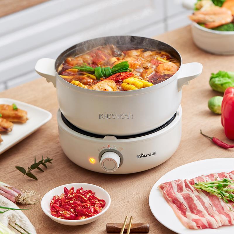 طباخ كهربائي متعدد الوظائف المنزلية انقسام نوع طالب عنبر وعاء كهربائي صغير المعكرونة مقلاة متكاملة