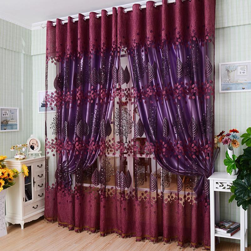 Cortina de tul rojo vino para ventana, cortinas transparentes florales de lujo para cocina, sala de estar, dormitorio, cortinas de Panel para tratamientos de ventana