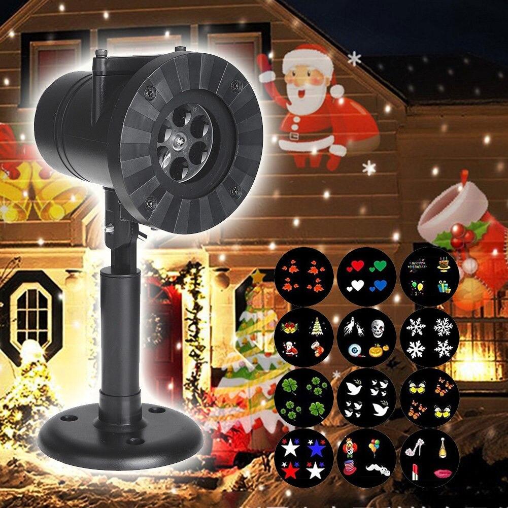 Weihnachten Lichter Wasserdichte LED Laser Schneeflocke Projektor 12 Film Karten DJ Disco Licht Neue Jahr der Decor Für Home Garten