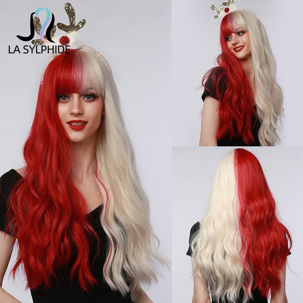 لا سيلفيد شعر مستعار اصطناعي طويل الطبيعية متموج نصف شقراء نصف شعر أحمر الباروكات مع الانفجارات للنساء تأثيري حفلة لوليتا شعر مستعار