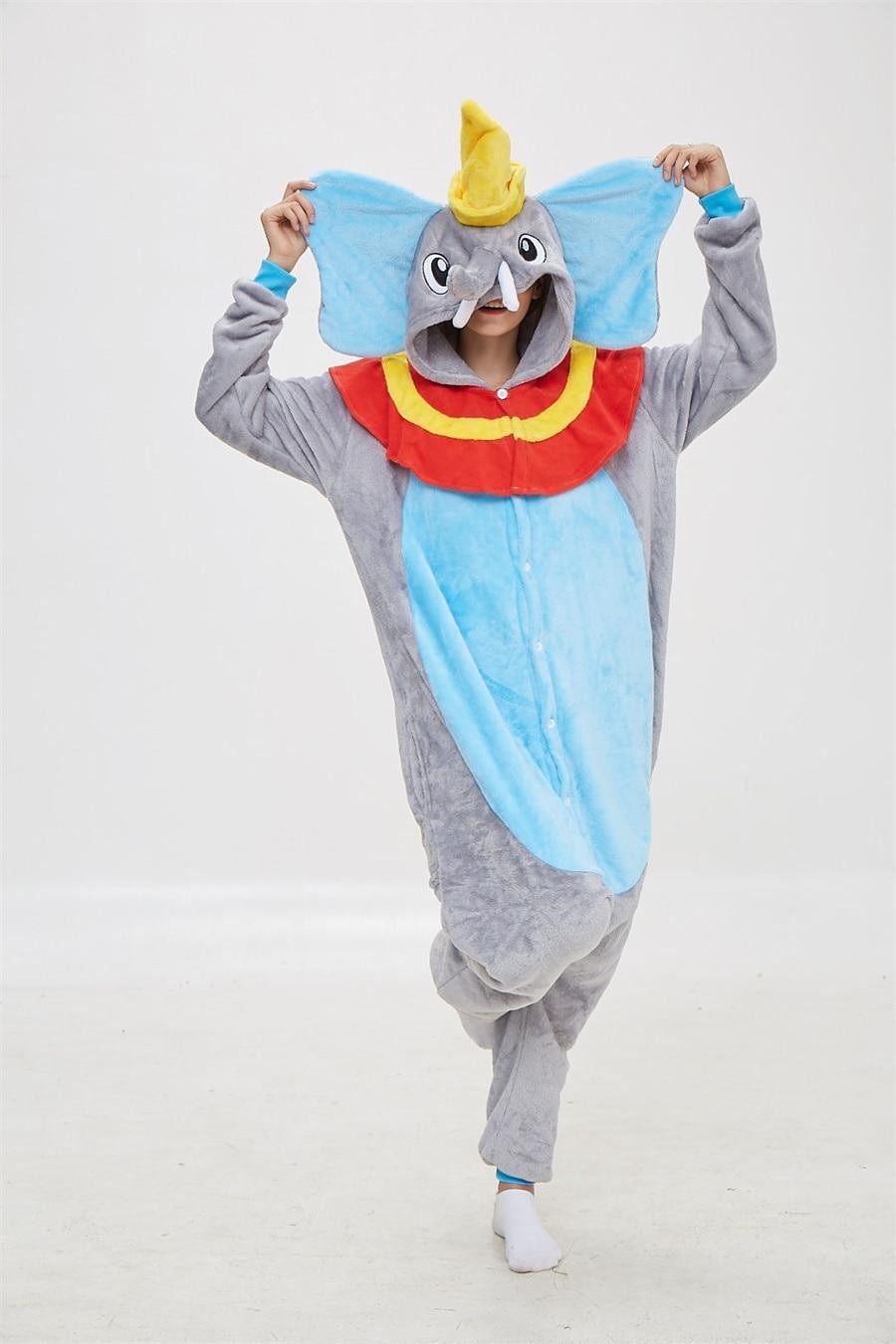 Kigurumi, nuevos trajes de franela, Onesies para adultos, Dumbo gris, pijamas, Disfraces, Unisex, elefante, pijama, pijama