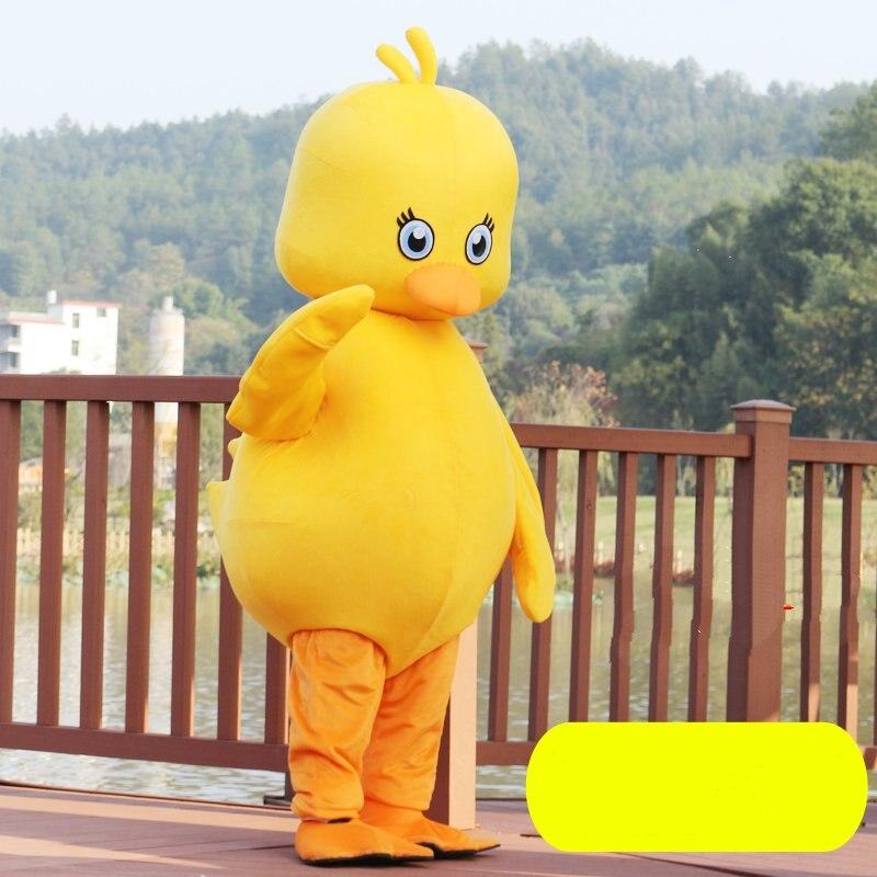 Pato amarelo mascote personagem dos desenhos animados mascote traje adulto tamanho fantasia vestido de festa