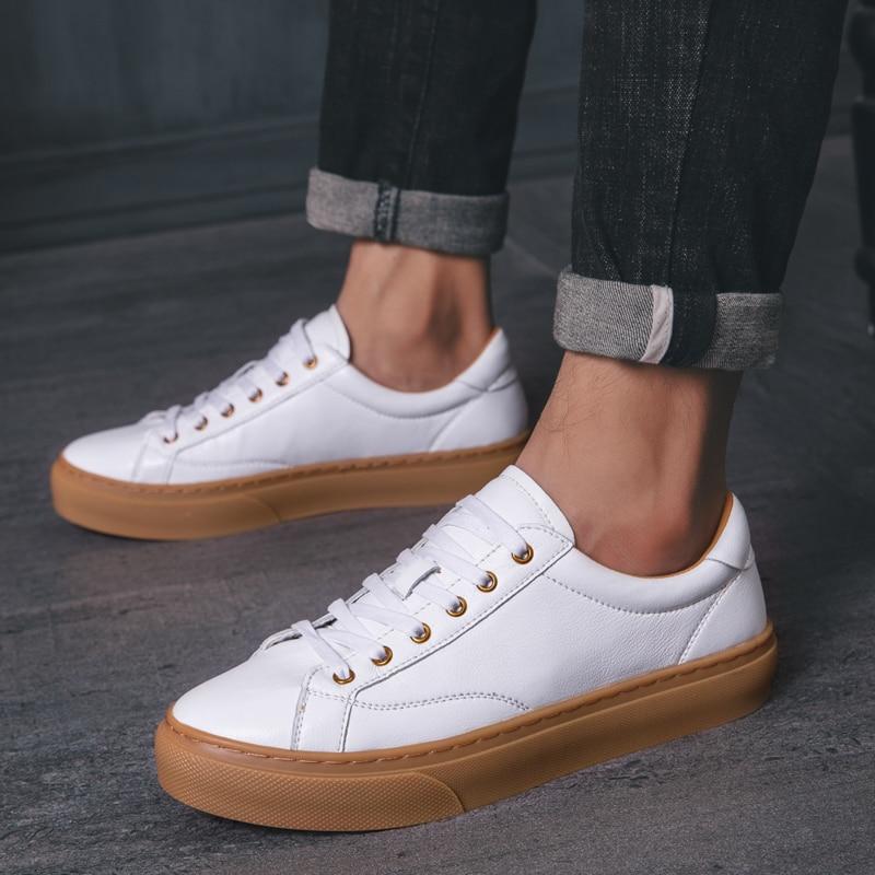 Masculinos de Couro Coreano-estilo ao ar Sapatos Genuíno Outono Novo Estilo Oxfords Tendência Versátil Casuais Inglaterra Livre Zapatos Hombre 2021