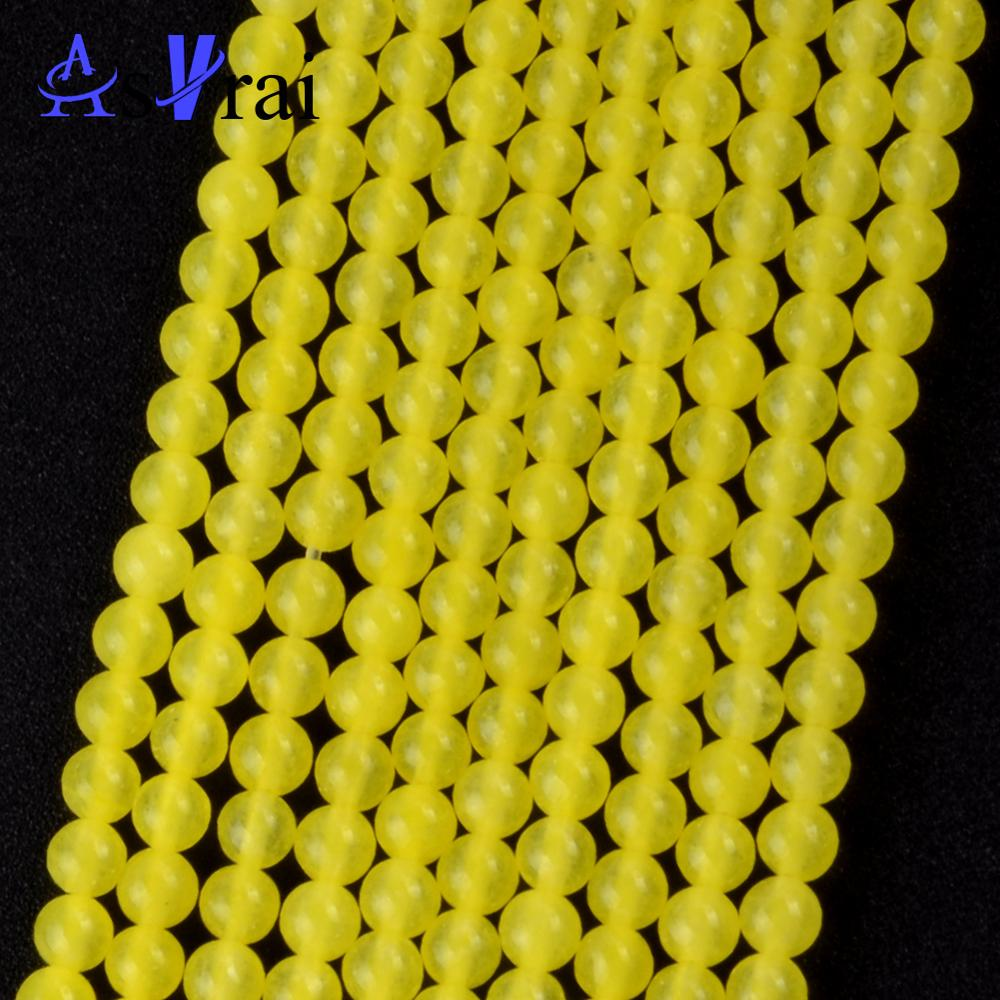 Natural Stone 3mm 120pcs Yellow Jades Stone Round Shape Beads Spacer Loose Beads For Jewelry Making