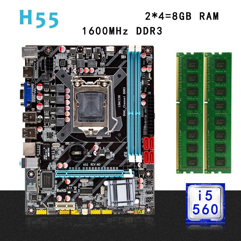 H55 juego de Placa base con LGA 1156 Intel core I5-650 3,2 GHZ CPU 8GB(2*4GB) DDR3 1600MHz PC memoria de escritorio RAM micro-atx
