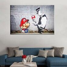 Impressions de toile dart murale   Peinture, décoration de la maison, 1 panneau de graffitis Banksy, photos Mario et Cop, cadre modulaire, affiche de couloir et de chambre