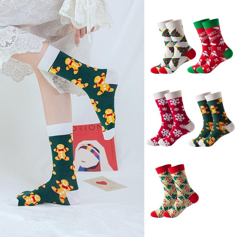 Women Socks Autumn Winter Christmas Socks Mid Tube Printed Cotton Socks Kawaii Christmas Gifts Tree Decoration New Year WZ001 lonati l462 l472k socks 1998 2000 year machine use keyboard 0430019