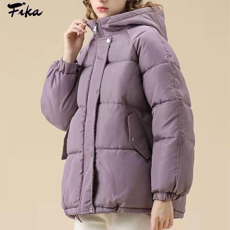 Новинка 2021, зимнее пальто, женская куртка, парки, толстая Осенняя женская черная оверсайз фиолетовая пуховая куртка с капюшоном, свободная о...