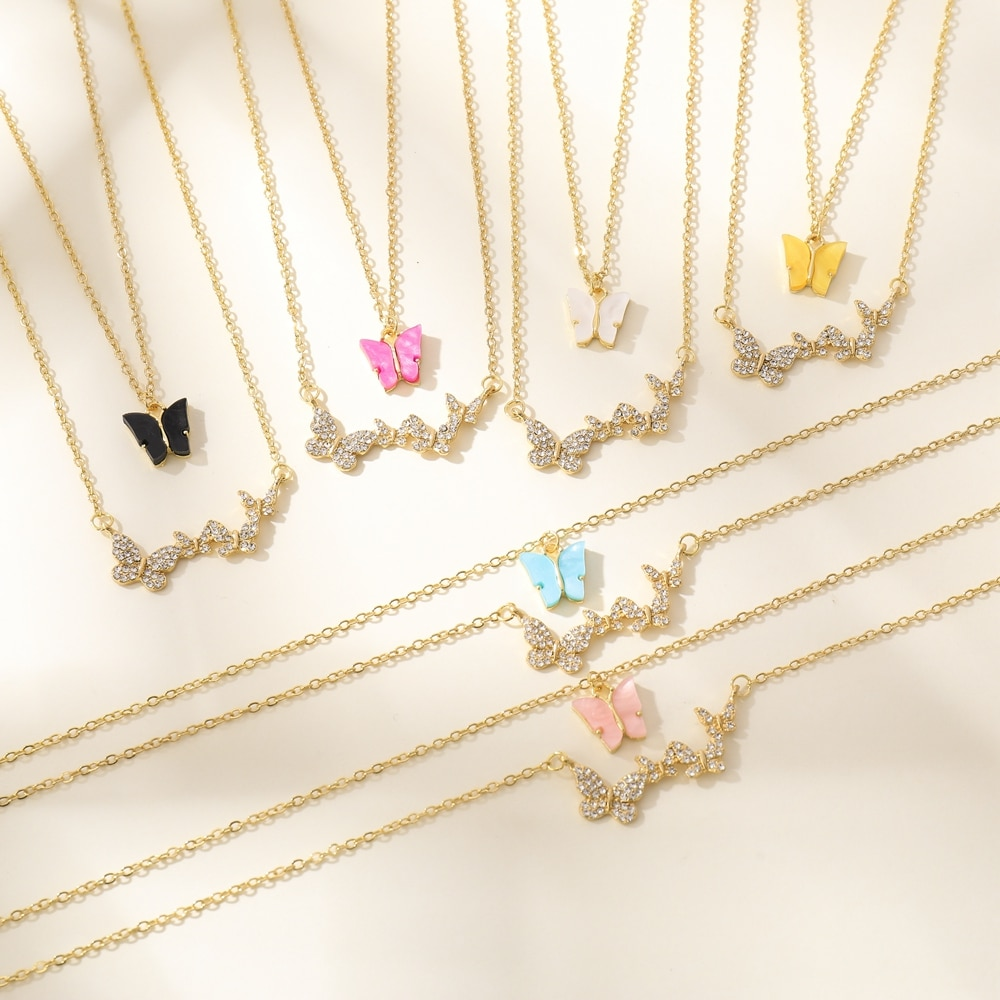 VG 6YM New Fashion Colorful Resin Butterfly Pendent Necklace Multi-layer Butterfly Necklace For Wome