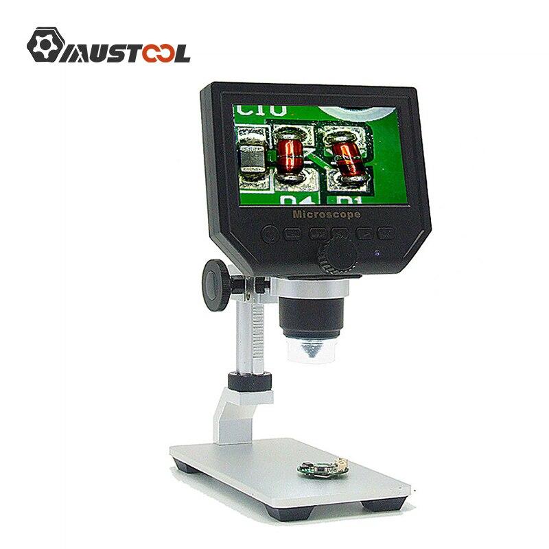 Mustool g600 digital 1 600x 3.6mp 4.3 polegada hd display lcd microscópio lupa contínua versão de atualização com suporte de metal Microscópios    -