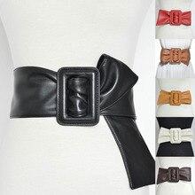 Wide Belt Women Elegant Fashion PU Leather Big Bow Cummerbund Ladies Vintage Rectangle Buckle Long B