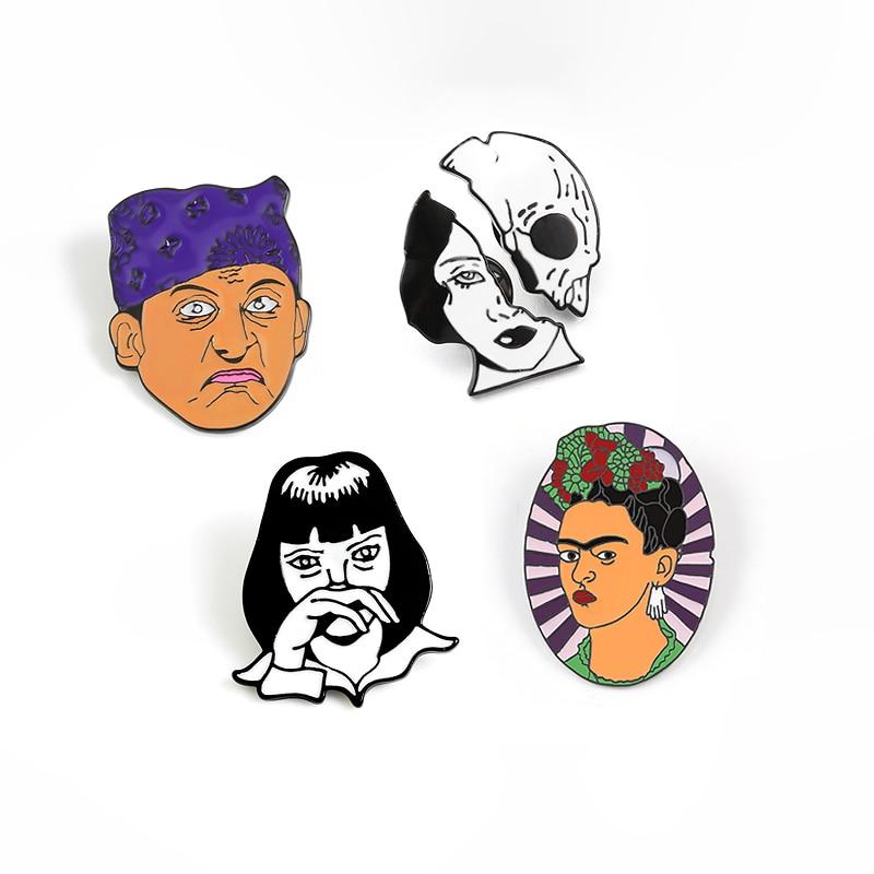 Divertida cabeza Punk esmaltada pines película personas insignia broches para mujeres Chaquetas vaqueras de hombre bolsa solapa Pin retrato abstracto joyería