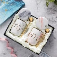EWAYS Natural Marble Porcelain Coffee Mug Mr and Mrs Tea Milk Cup Creative Wedding Anniversary Gift