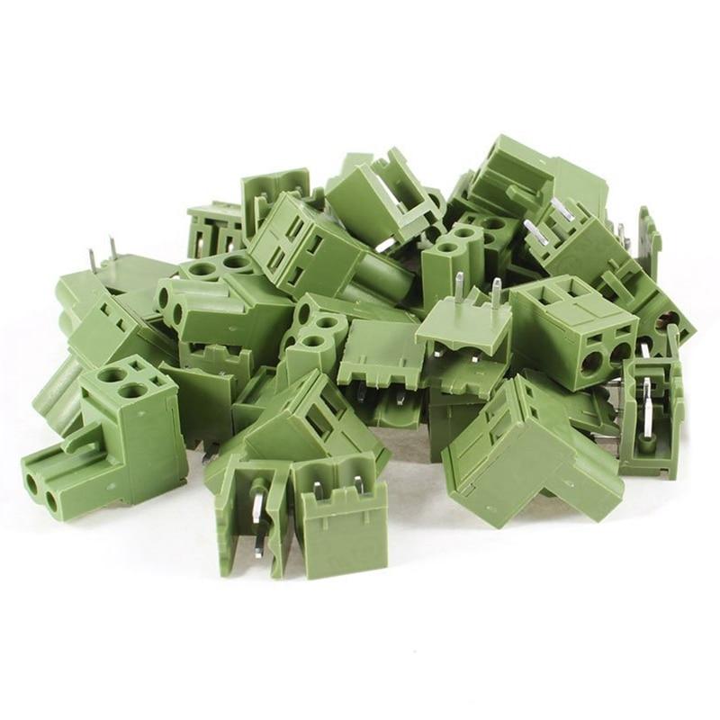 Bloque de terminales enchufable de 2 pines AC 300V, 10A, 5,08mm, 20 unidades