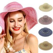 Sun Hat Sun Hat Collapsible Beach Straw Hat Lady Roman Charming Amorous Feelings Sun Hat Plus Size Size-adjustable P3