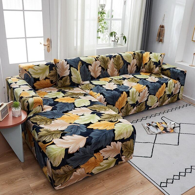 Универсальный L-образный чехол для дивана с листьями, чехол для дивана разной формы, пылезащитный чехол для дивана, секционный чехол для див... чехол