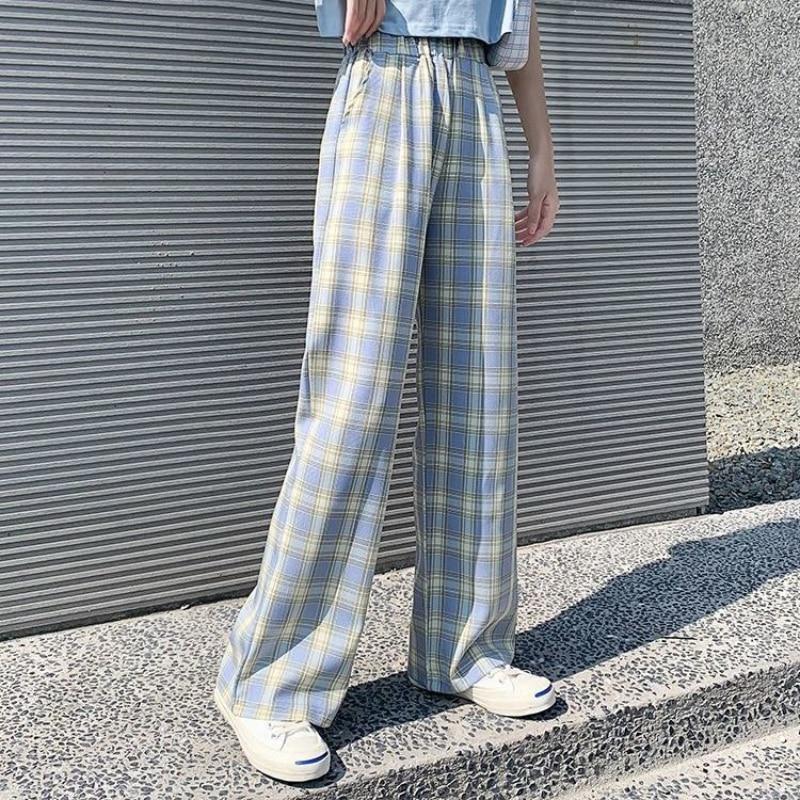 Новинка 2021, клетчатые брюки, женские повседневные новые клетчатые брюки, женские брюки с широкими штанинами, дикие прямые повседневные брюк...