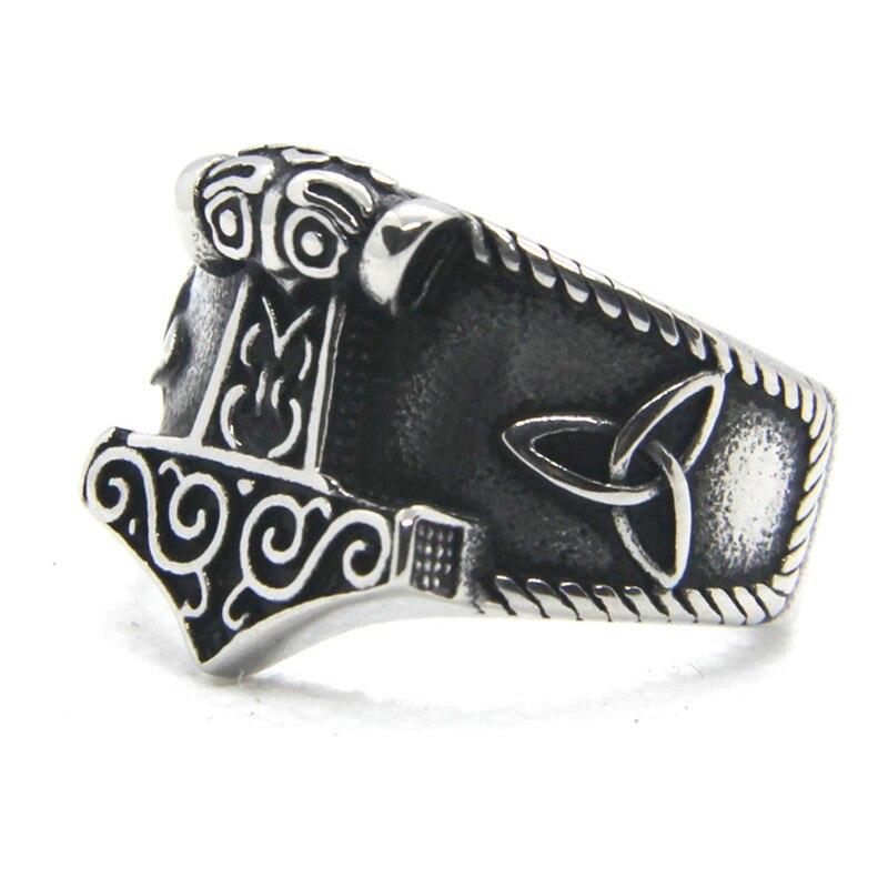 Soporte Dropship nuevo tamaño 7-14 martillo anillo fresco 316L Acero inoxidable moda Punk estilo anillo