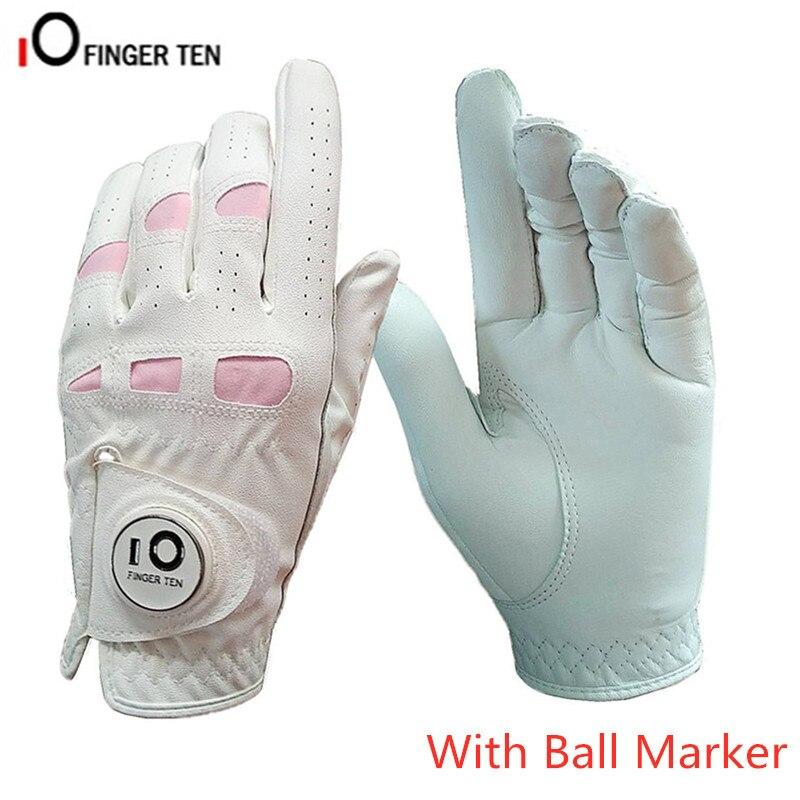 Женские кожаные перчатки для гольфа, женские мягкие анти-скользящие перчатки с шариковым маркером