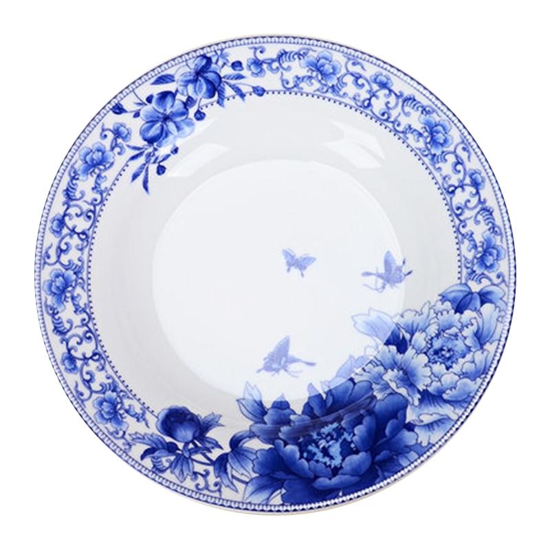 Vajilla de cerámica de 6 pulgadas/8/10 pulgadas, vajilla de porcelana, vajilla de arroz, vajilla de porcelana azul y blanca para el hogar