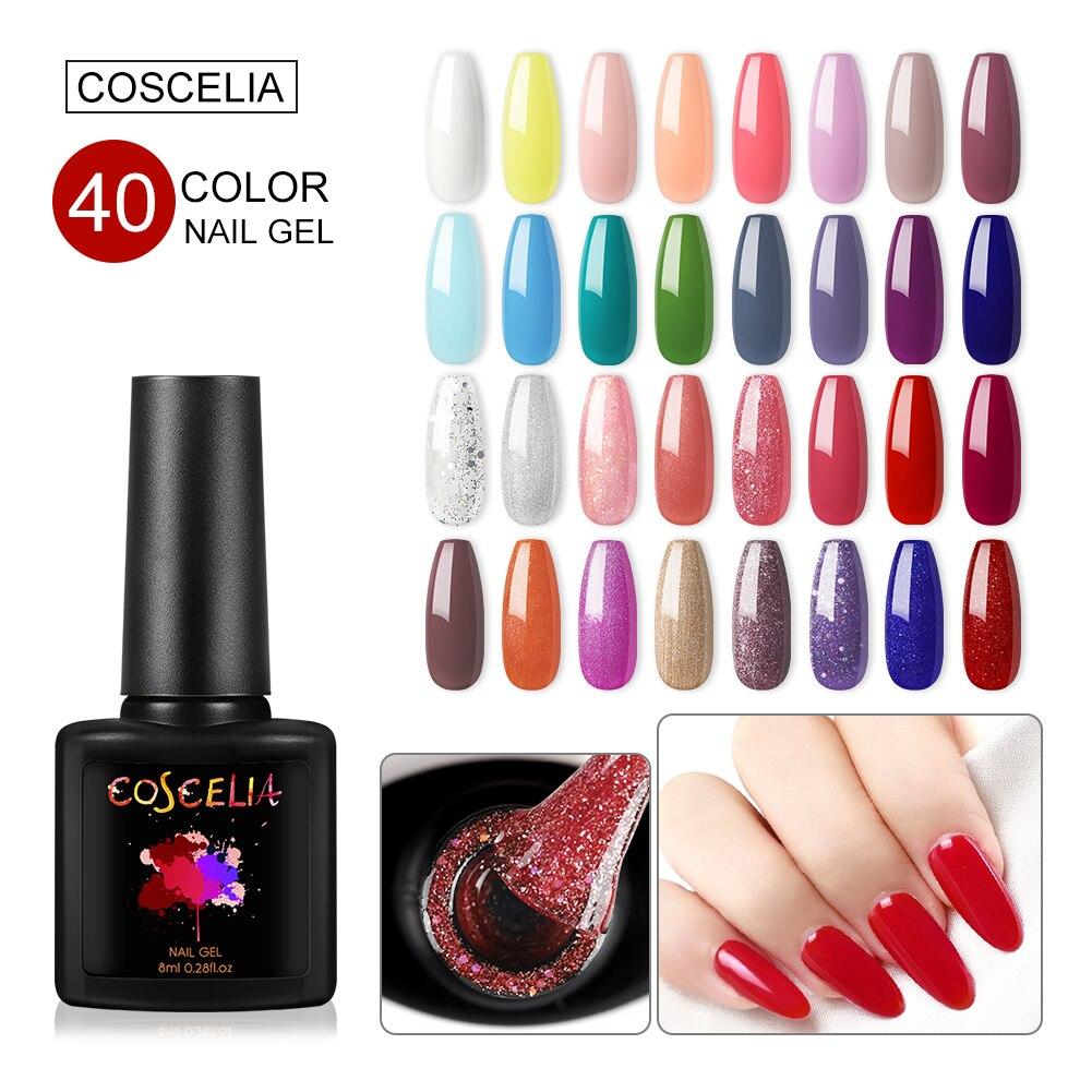 Nail Art Design Manicure COSCELIA 40Color 8Ml Soak Off Enamel Gel Polish LED UV Gel Nail Polish Manicure Decorations For Nail