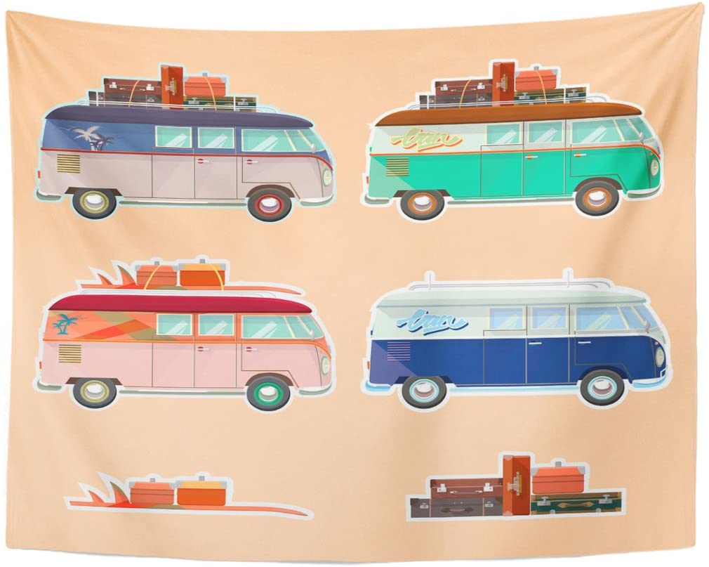Camper of Retro Travel Van Beetle Car Tapestry Home Decor Wall Hanging for Living Room Bedroom Dorm 60x80 Inches