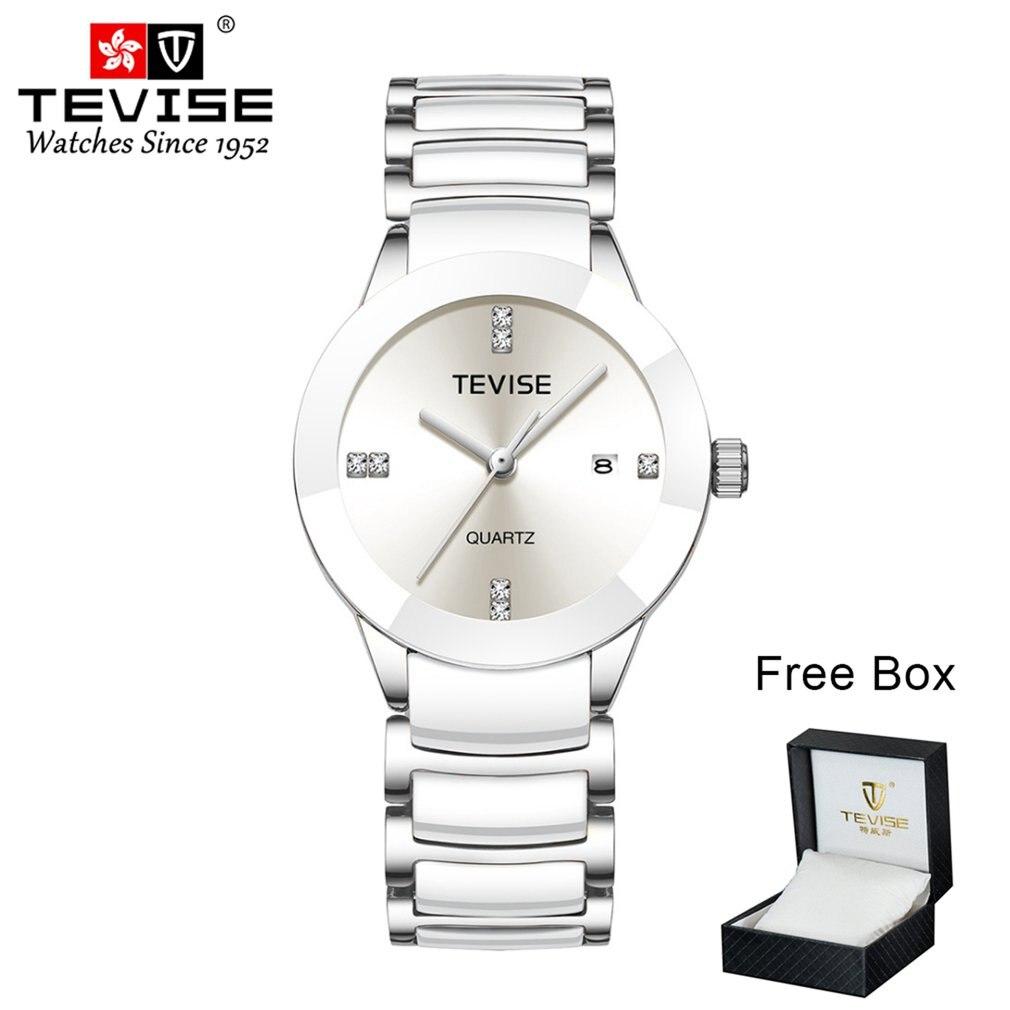 TEVISE reloj mecánico dorado blanco Tourbillon dorado blanco reloj automático caja de reloj impermeable