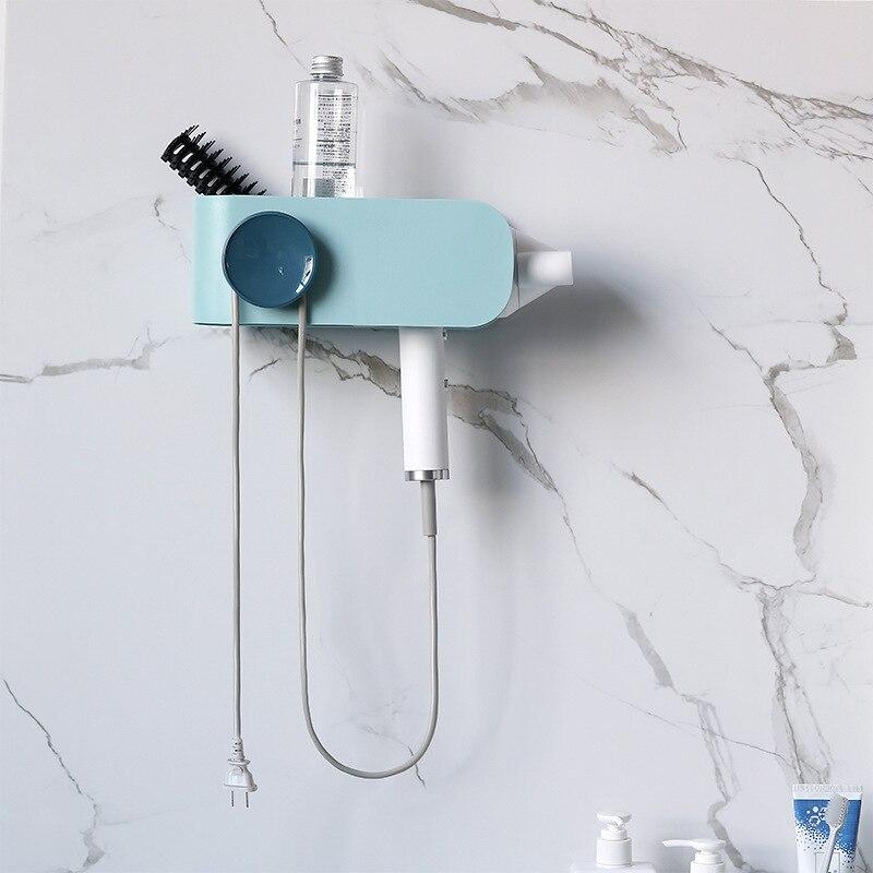 Estante para secador de pelo, sin perforaciones, estante de almacenamiento para baño, soporte para colgar en la pared, soportes para secador de pelo, secador de pelo, banda de goma para la cabeza
