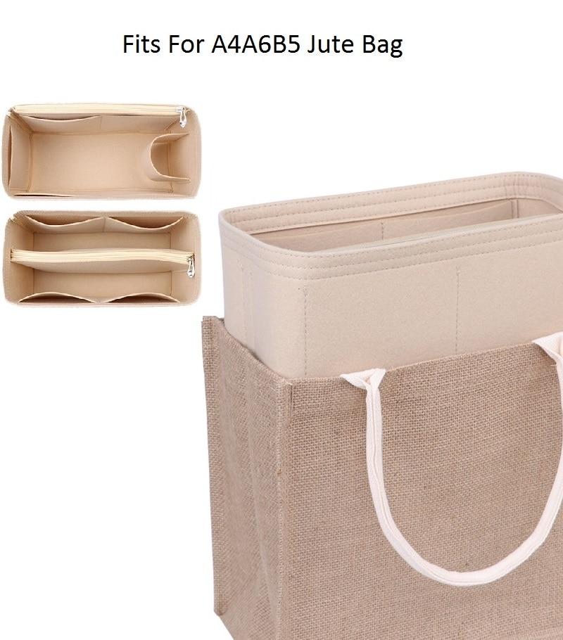 Fits For A4 A6 B5 Tote Felt Cloth Insert Bag Organizer Makeup Handbag Organizer Travel Inner Cosmeti