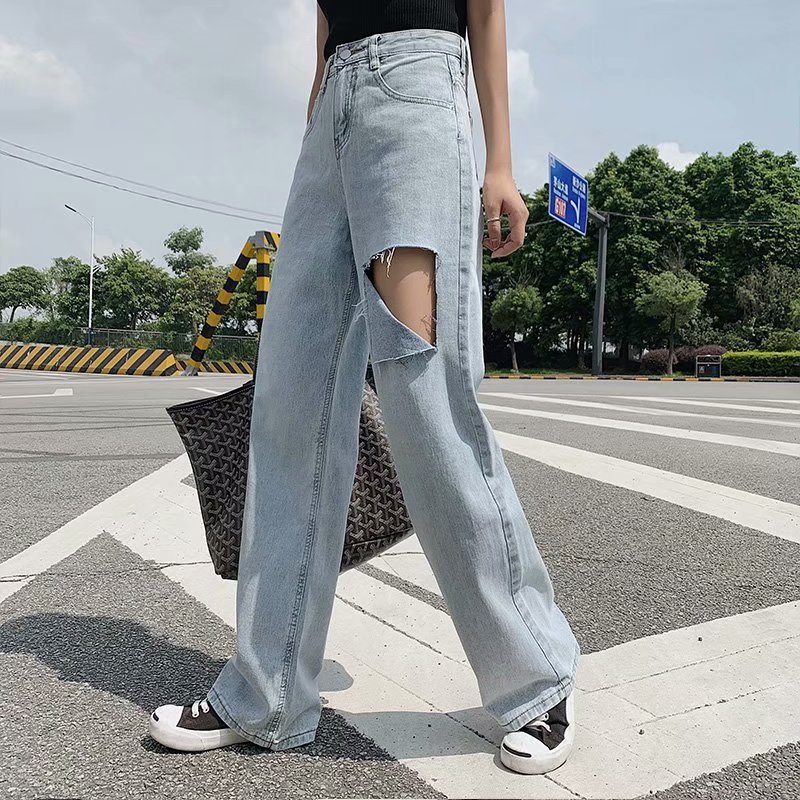 Straight jeans with holes, women's loose high waist and mopping pants, slim 2021 summer fashion and casual wide-leg pants