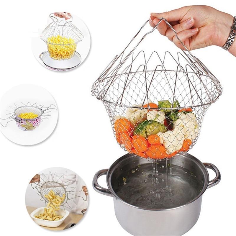 Cesto para Chef, colador plegable, cesta de malla, accesorios de cocina, rejilla plegable para freír a vapor, herramienta de cocina