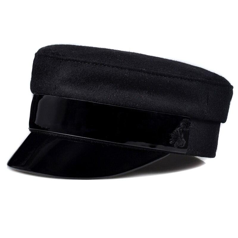 انكلترا موضة حقيقية براءات الاختراع والجلود الصوف القماش البحرية قبعة للنساء الإناث الكشمير الأسود Fittd قبعات مسطحة