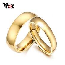 Vnox bandes de mariage simples anneaux 2 pièces/lots couleur or fiançailles pour femmes hommes suivi Service